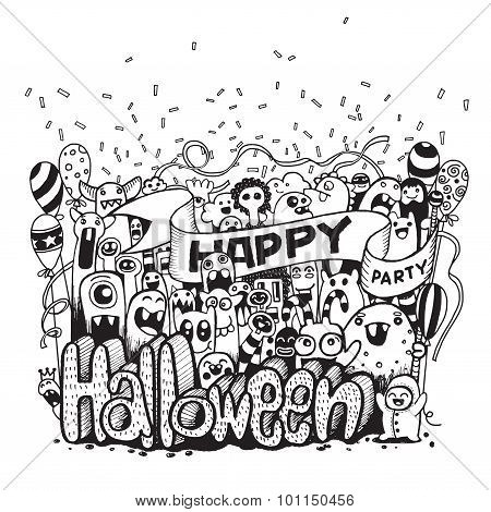 Hand Drawn  Of A Happy Monsters Cartoon Doodle Celebration Halloween Party