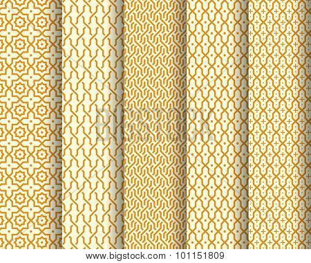 Set of Arabic patterns. Abstract background. Vector illustration