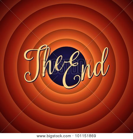 The final screen of the movie. The end. Retro background, vector illustration