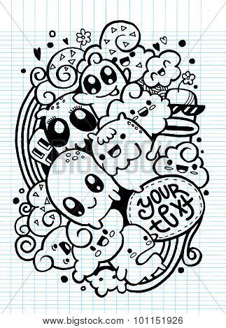 Group Of Happy Doodle Monster ,drawing Style