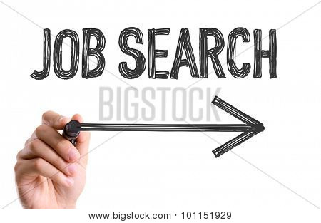 Hand with marker writing the word Job Search