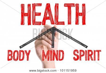 Hand with marker writing the word Health - Body/Mind/Spirit