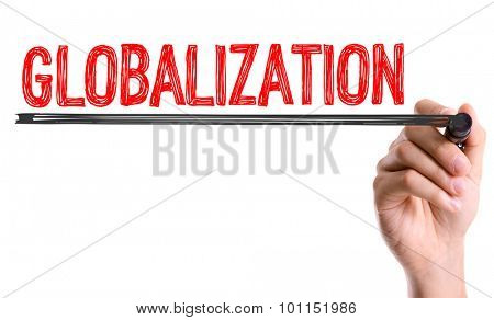 Hand with marker writing the word Globalization