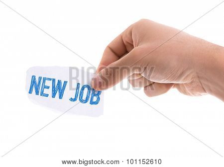 Piece of paper with the word New Job isolated on white background