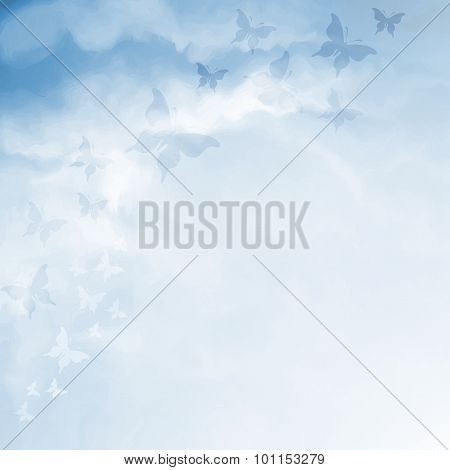 Blue Sky Drawing With Butterflies And Copy Space