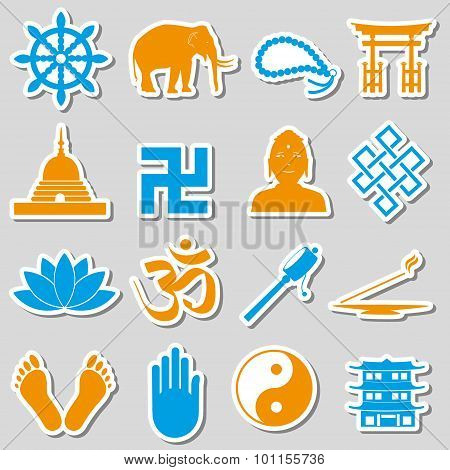 Buddhism Religions Symbols Vector Set Of Stickers Eps10