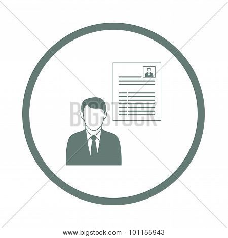 Job Interview - Button - Job Interview Concept Icon. Stock Illustration Flat Design Icon