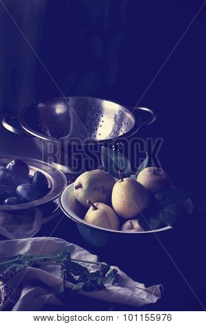 Fresh Organic Pears On Old Wood. Toned Effect