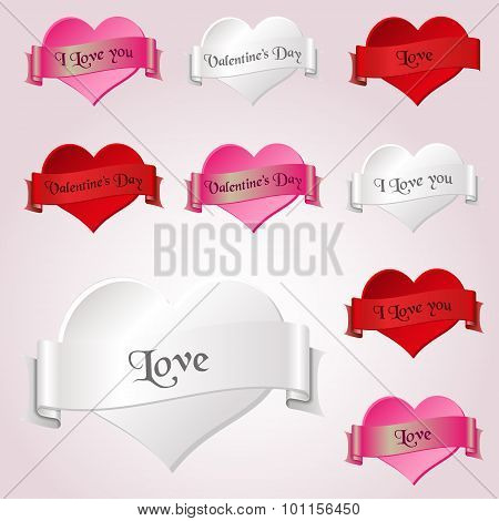 White Red And Pink Valentine Hearths And Ribbon From Paper Decoration Element Eps10