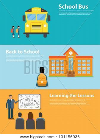Back to School flat style design. Learning the lessons, school bus, school