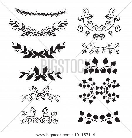 Elegant floral decorative elements set with branches and leaves.