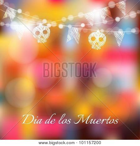 Dia De Los Muertos, Halloween Card, Invitation With Lights, Sculls, Party Flags