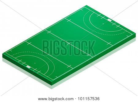 detailed illustration of a hockey field with isometric perspective, eps10 vector