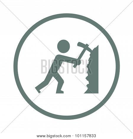 Worker - Button - Stock Illustration Icon - Simplified Miner Illustration