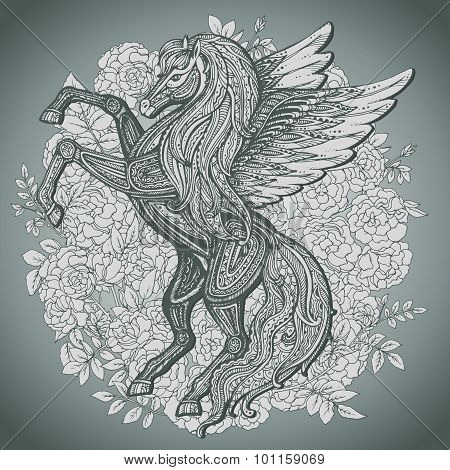 Hand Drawn Pegasus Mythological Winged Horse On Bush Roses Background.