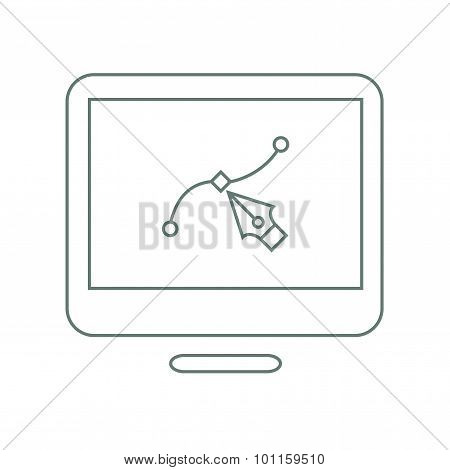 Illustrations - Button - Designing An Illustration In The Monitor. Stock Illustration Flat Design Ic