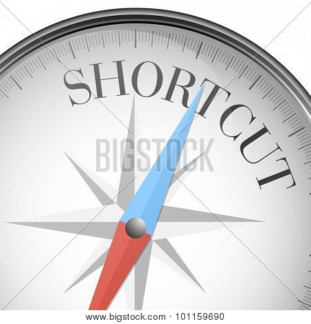 detailed illustration of a compass with Shortcut text, eps10 vector