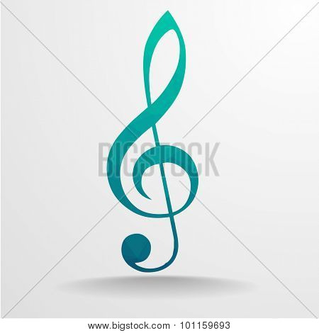 detailed illustration of a polygonal violin clef, eps10 vector