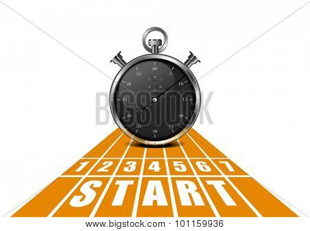 detailed illustration of a start track in perspective view with a stop watch, eps10 vector