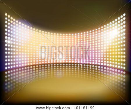 Big projection screen on the stage. Vector illustration.
