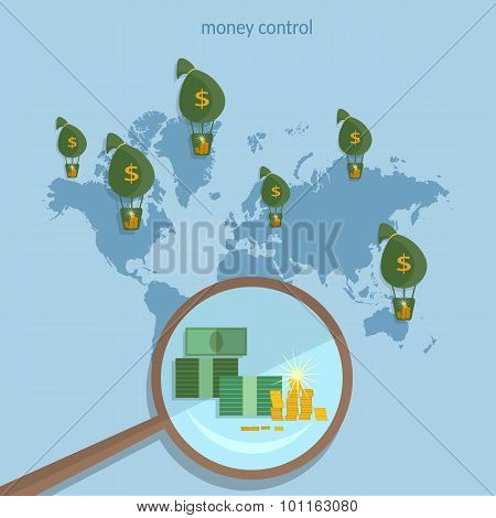 World Money Traffic Concept Global Monetary System Transactions Collect Money Online Payments