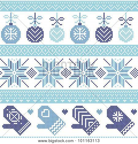 Scandinavian Nordic seamless Christmas pattern with Xmas baubles, gloves, stars, snowflakes, Xmas or