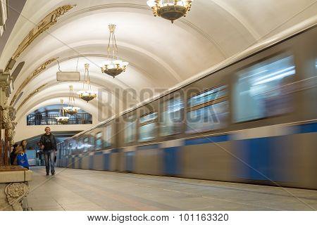 Moscow, Russia -27.04.2015. Moving Train At The Subway Stations Krasnopresnenskaya. Moscow Metro Car