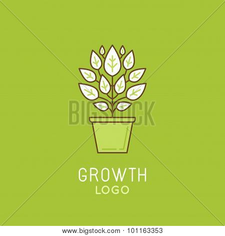 Vector Abstract Growth Logo Design Element In Trendy Linear Style