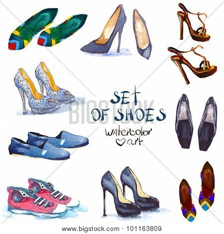 watercolor set shoes