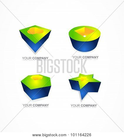 Abstract 3D Logo Shapes Icon Company