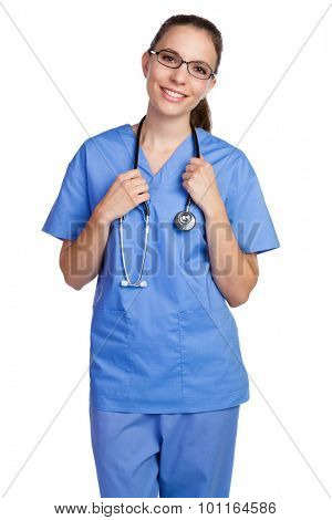 Isolated pretty nurse wearing glasses