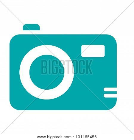 Media & Electronics Concept Icon. Digital Camera Concept Icon. Stock Illustration Flat Design Icon -
