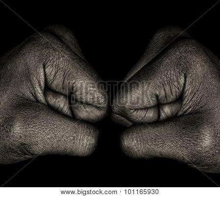 Beautiful Monochrome art Image Of a Afro womans fists