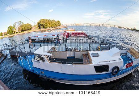 River Cruise Passenger Ships Moored On Neva River In St.petersburg, Russia
