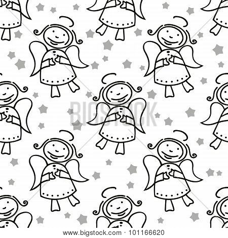 angels seamless pattern