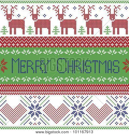 Green blue and red Scandinavian merry christmas sign inspired by  nordic pattern in cross stitch wit