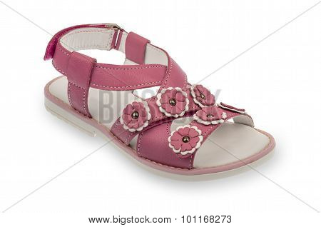 Girl pink sandal isolated.