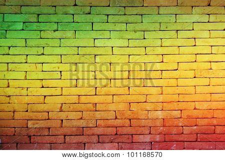 green red yellow brick Wall background (Reggae style)
