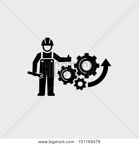 Engineer standing with wrench and giving thumb up Gears Cogs as a symbol work of mechanism Vector Icon
