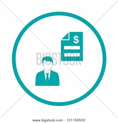 Owner's Equity Concept Icon. Businessman And Invoice Concept Icons.