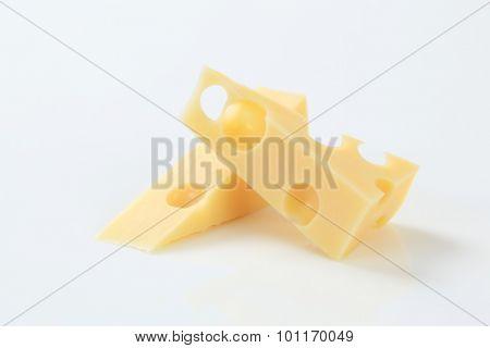 wedges of fresh Swiss cheese