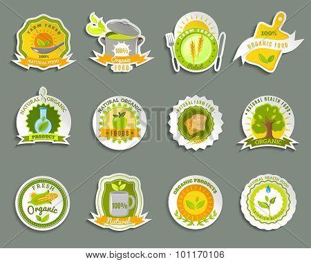 Natural organic food brands stickers set