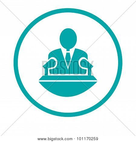 Speaker Icon. Orator Speaking From Tribune Illustration