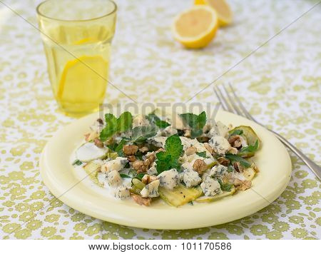 Salad With Squash, Blue Cheese, Walnuts And Yogurt Dressing