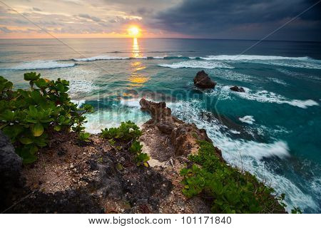 Southwestern part of the island of Bali at sunset. Indonesia