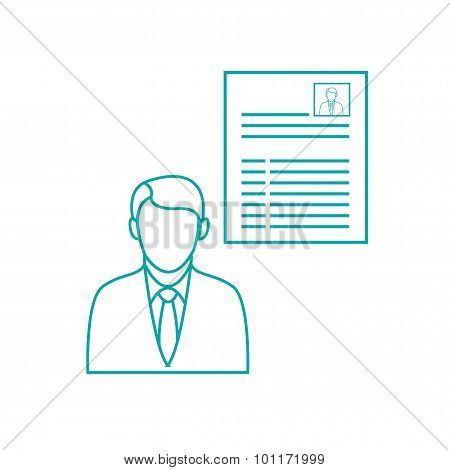 Job Interview - Button - Job Interview Concept Icon. Stock Illustration Flat Design Icon...