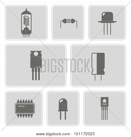 monochrome icon set with electronic components