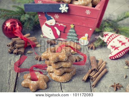 Honey Cakes With Spices On A Wooden Background. Christmas Composition