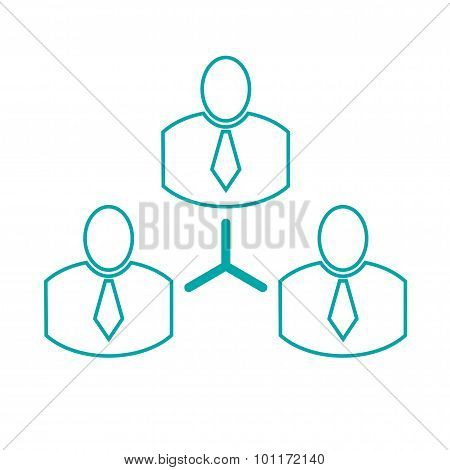 Abstract Illustration Icon With Complex Business Network. Business Networking. Vector. Button..