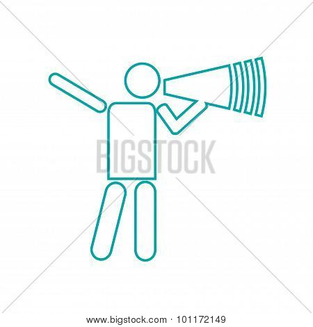 Nominate - Button - Abstract Businessman With Megaphone. Illustration Of Businessman Shouting At The